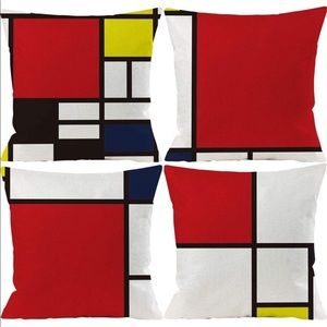 Red Blue Black Abstract Pillow Covers